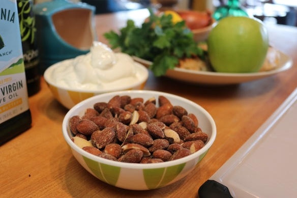 Smoked almonds and greek yogurt.