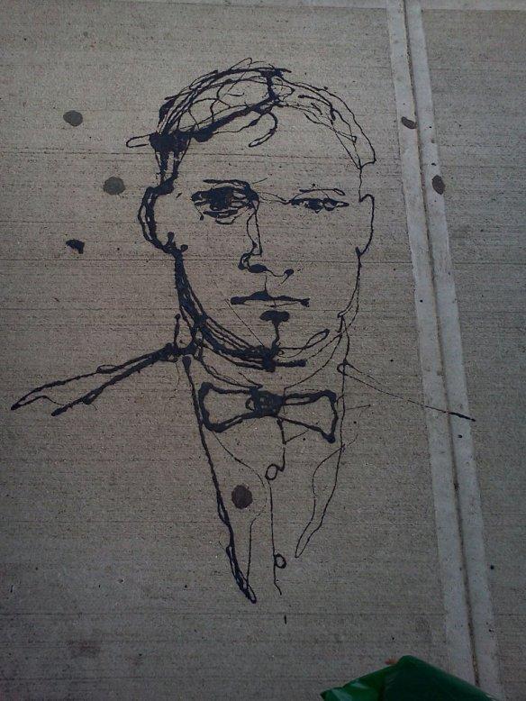 One line man. - street art in Williamsburg, Brooklyn, NY.